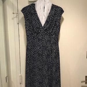 Short, navy and white polka dot dress